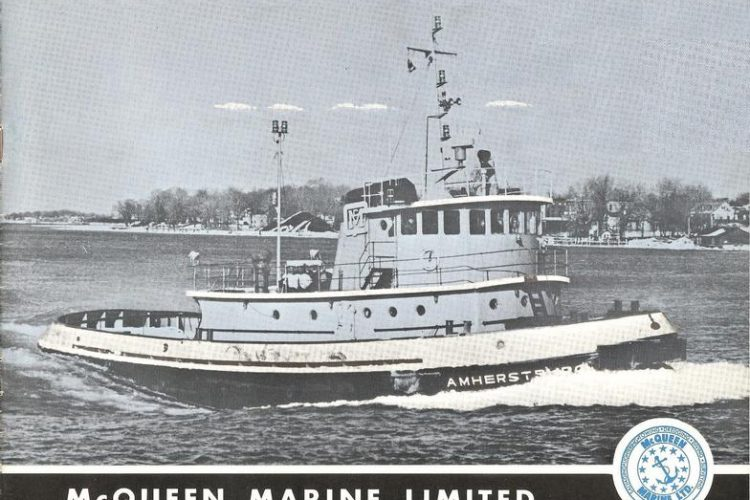 """Black and white photo of a boat with the text """"McQueen Marine Limited, Amherstburg, Ontario, Canada"""""""